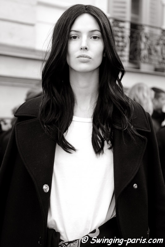 Ruby Aldridge outside Balmain show, Paris FW 2016 RtW Fashion Week, March 2016