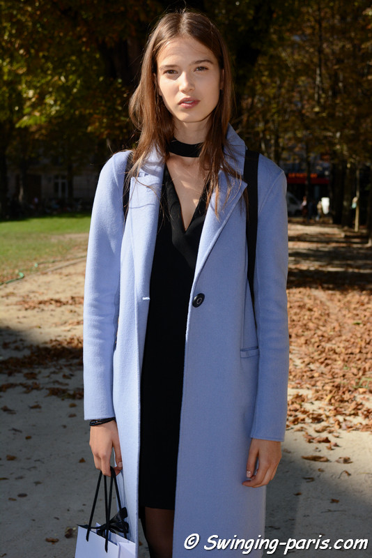 Sara Witt outside Giambattista Valli show, Paris S/S 2017 RtW Fashion Week, October 2016