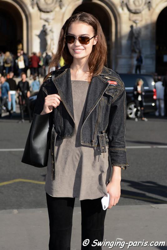Sasha Kichigina outside Stella McCartney show, Paris S/S 2017 RtW Fashion Week, October 2016