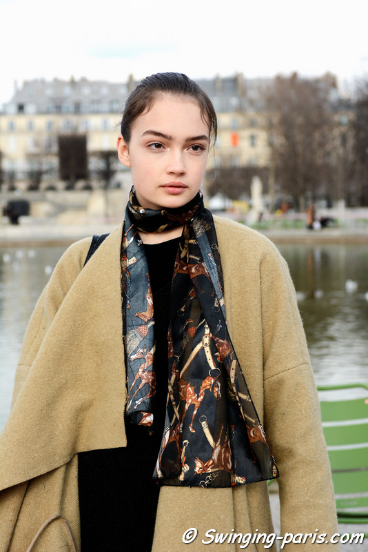 Sasha Kichigina outside Valentino show, Paris FW 2016 RtW Fashion Week, March 2016