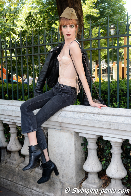 Teddy Quinlivan leaving Jean Paul Gaultier show, Paris F/W 2016 Haute Couture Fashion Week, July 2016