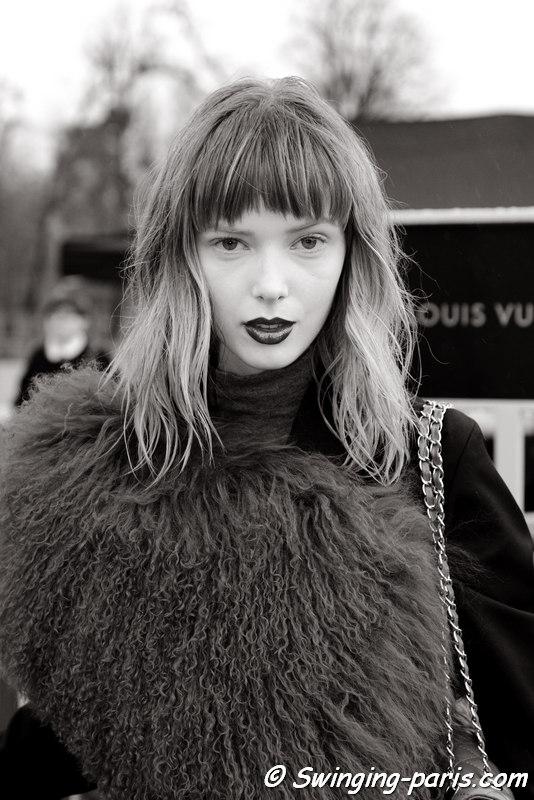 Ulrikke Høyer leaving Louis Vuitton show, Paris FW 2016 RtW Fashion Week, March 2016