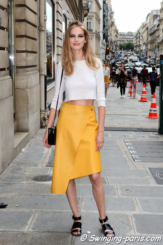 Vanessa Axente leaving Christian Dior show, Paris F/W 2016 Haute Couture Fashion Week, July 2016