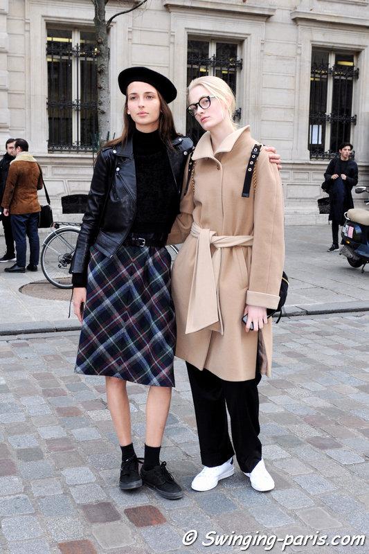 Waleska Gorczevski (left) and Sunniva Vaatevik (or Sunniva Wahl) outside Bouchra Jarrar show, Paris Haute Couture SS 2016 Fashion Week, January 2016