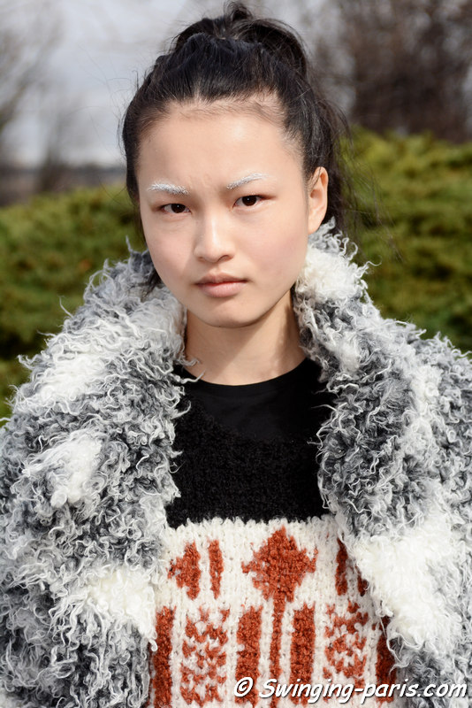Wangy Xin Yu leaving Moncler Gamme Rouge show, Paris FW 2016 RtW Fashion Week, March 2016