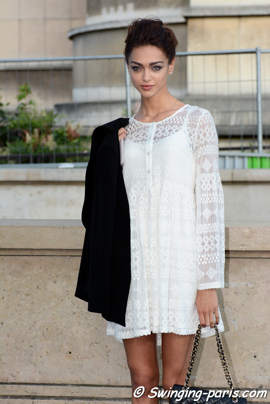 Zhenya Katava (Женя Катава) leaving Armani Privé show, Paris F/W 2016 Haute Couture Fashion Week, July 2016