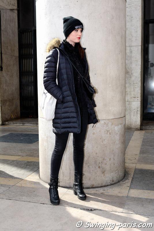 A model outside Agnès B show, Paris FW 2016 RtW Fashion Week, March 2016