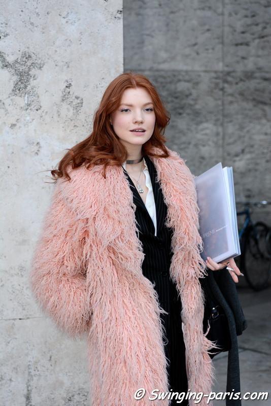 Anastasia Ivanova (Анастасия Иванова) leaving Georges Chakra show, Paris Haute Couture SS 2017 Fashion Week, January 2017
