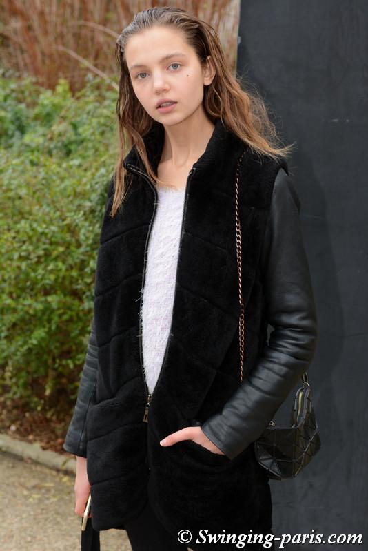 Anna Vivchar leaving Moncler Gamme Rouge show, Paris F/W 2017 RtW Fashion Week, March 2017