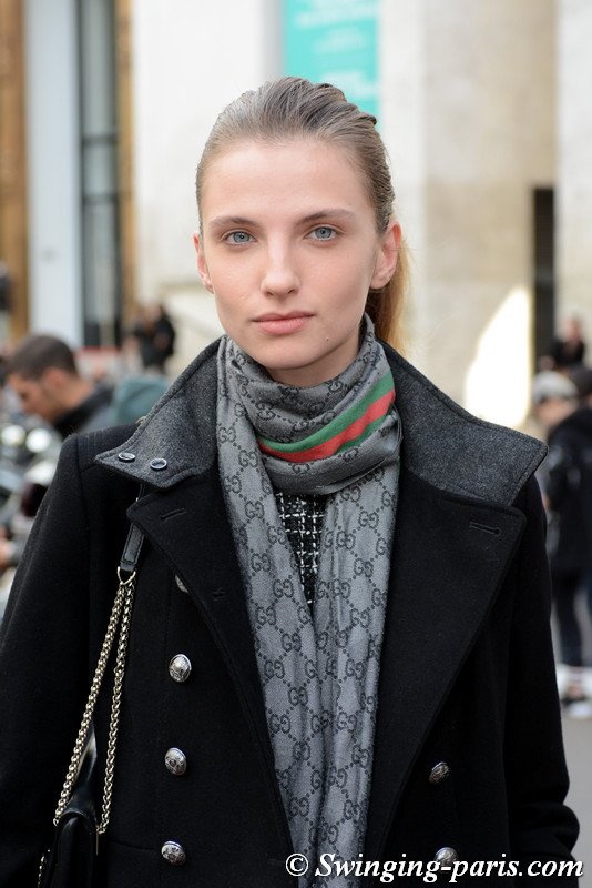 Appoline Rozhdestvenska leaving Junko Shimada show, Paris S/S 2018 RtW Fashion Week, October 2017