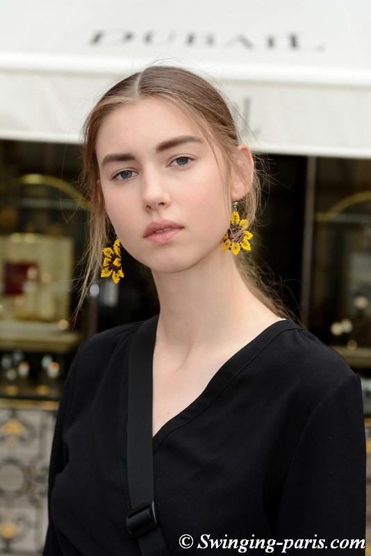 Asta Fjeldhagen leaving Schiaparelli show, Paris F/W 2017 Haute Couture Fashion Week, July 2017