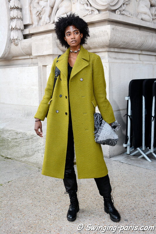 Crystal Noreiga leaving Manish Arora show, Paris F/W 2017 RtW Fashion Week, March 2017