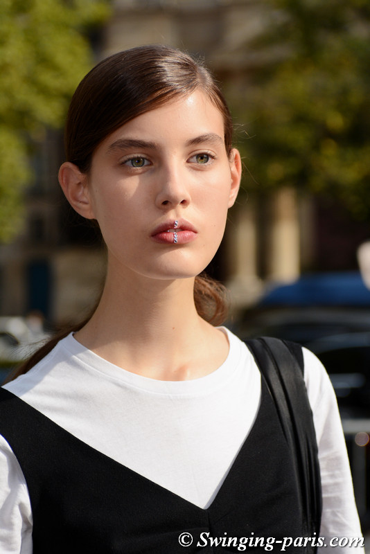 Csepi Szilagyi leaving Dries van Noten show, Paris S/S 2018 RtW Fashion Week, September 2017