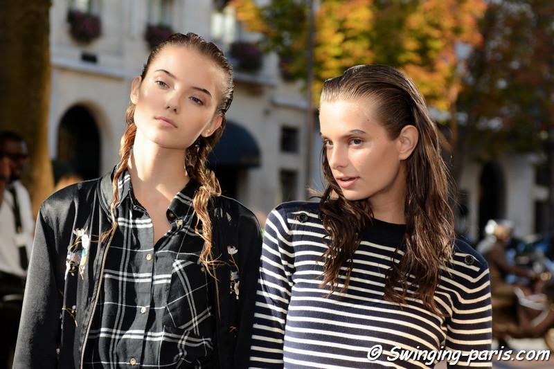 Diana Moskalets and Eva Shemetova leaving Junko Shimada show, Paris S/S 2017 RtW Fashion Week, October 2016