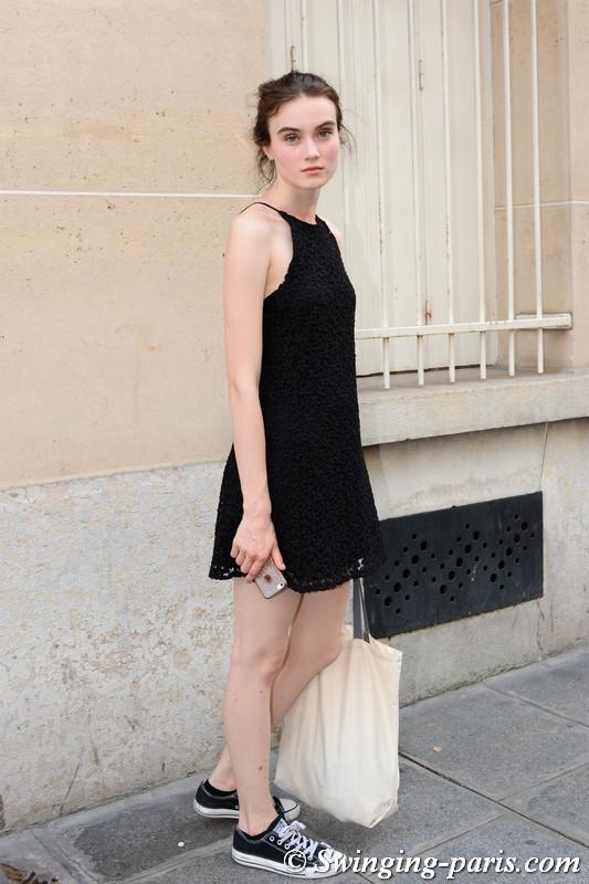 Eliza Ryszewska leaving Zuhair Murad show, Paris F/W 2017 Haute Couture Fashion Week, July 2017