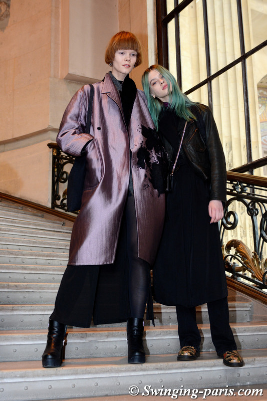 Irina Kravchenko and Sasha Belyaeva (right) leaving Léonard show, Paris F/W 2017 RtW Fashion Week, March 2017