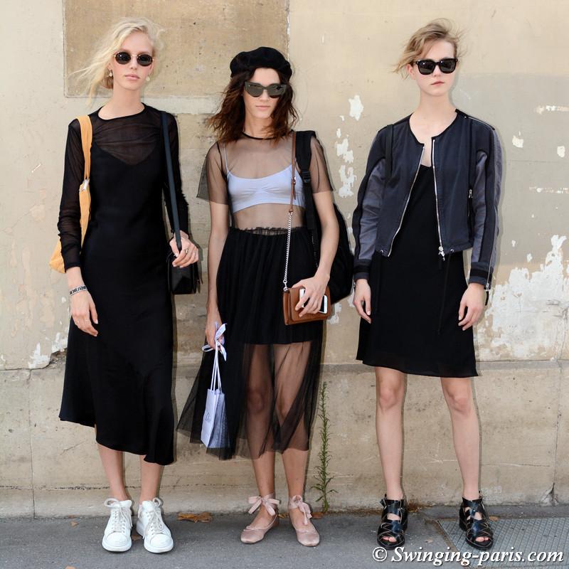 Jessie Bloemendaal, Leila Goldkuhl and Julie Hoomans leaving Christian Dior show, Paris F/W 2017 Haute Couture Fashion Week, July 2017
