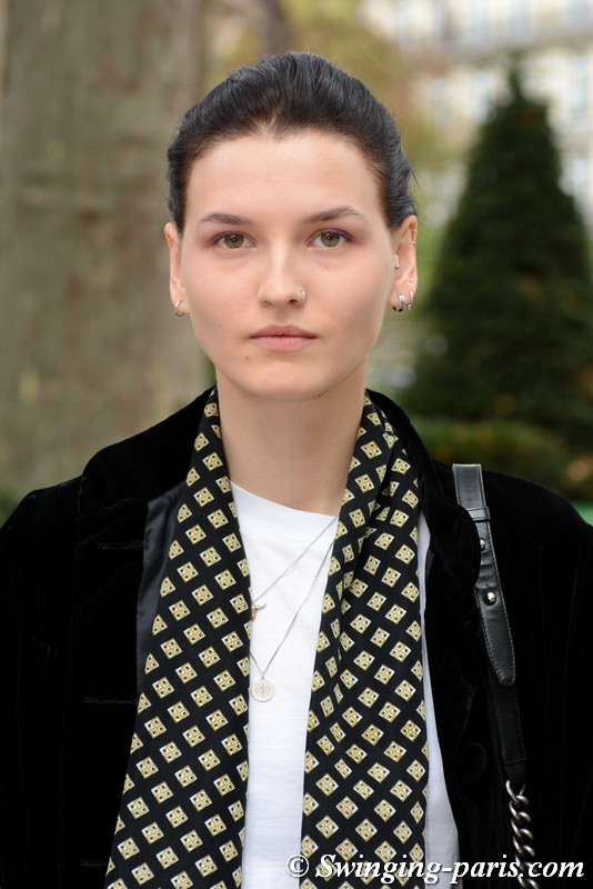 Katlin Aas outside Atlein show, Paris S/S 2018 RtW Fashion Week, September 2017