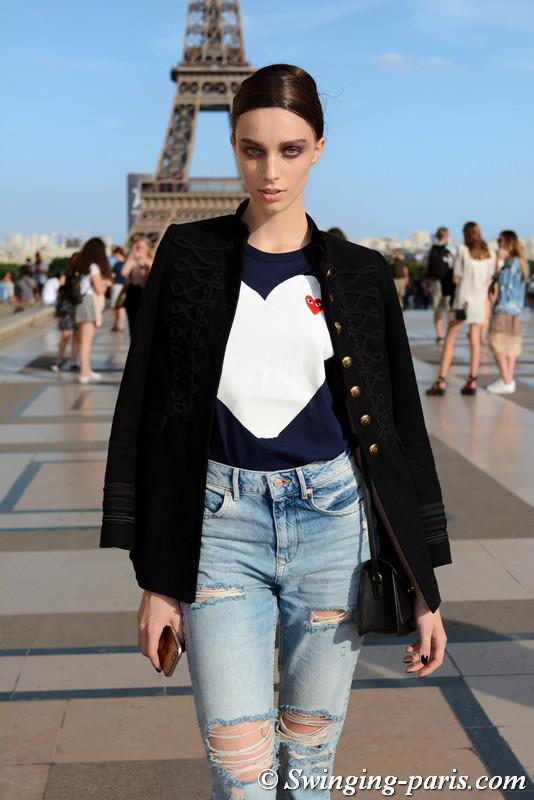 Larissa Marchiori leaving Armani Privé show, Paris F/W 2017 Haute Couture Fashion Week, July 2017