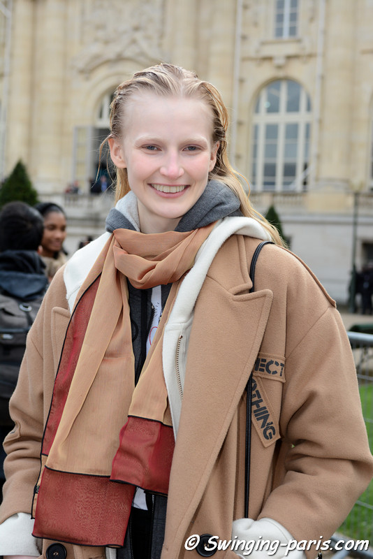 Leah Rödl leaving Moncler Gamme Rouge show, Paris F/W 2017 RtW Fashion Week, March 2017