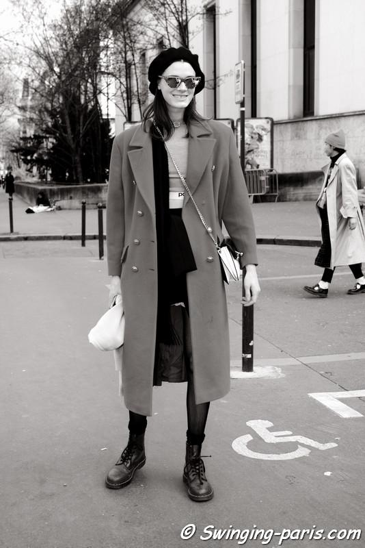Leila Goldkuhl leaving Ellery show, Paris F/W 2017 RtW Fashion Week, March 2017