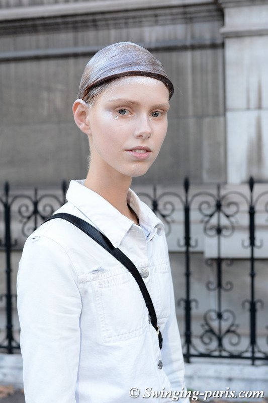 Lululeika Liep outside Thom Browne show, Paris S/S 2018 RtW Fashion Week, October 2017
