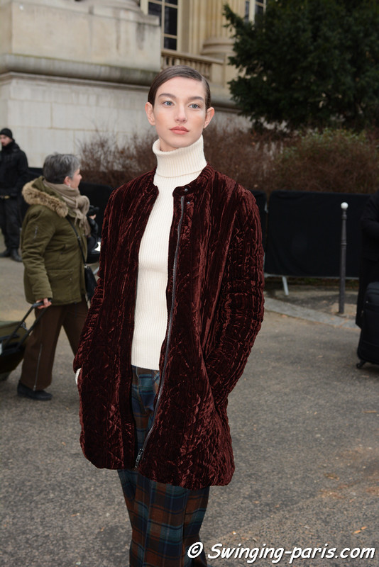 McKenna Hellam outside Chanel show, Paris Haute Couture SS 2017 Fashion Week, January 2017