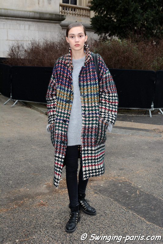 Michelle Gutknecht leaving Chanel show, Paris Haute Couture SS 2017 Fashion Week, January 2017