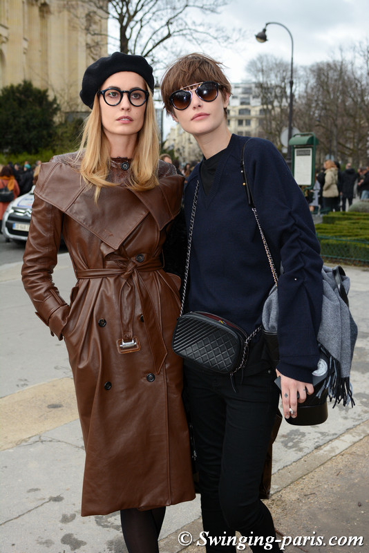 Nadja Bender and Catherine McNeil leaving Chanel show, Paris F/W 2017 RtW Fashion Week, March 2017