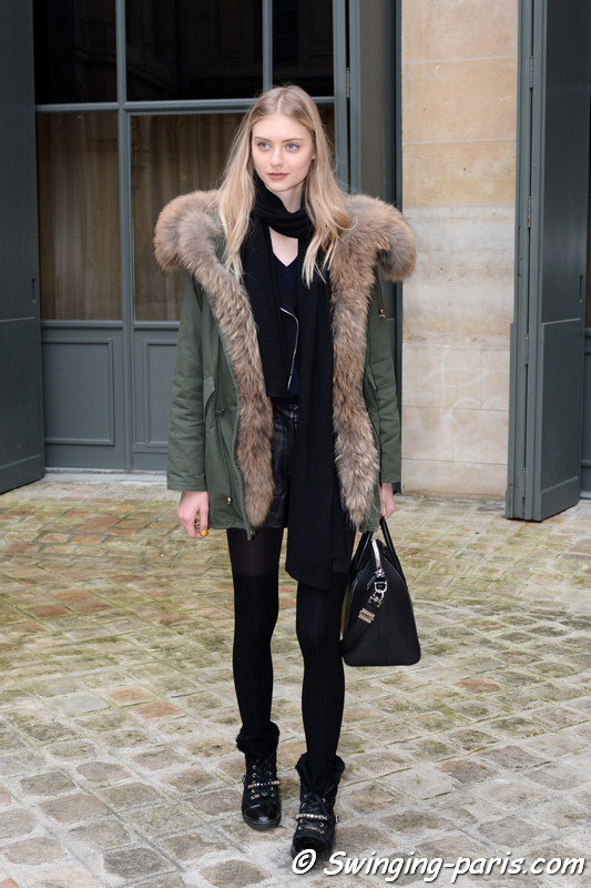 Nastya Kusakina (Настя Кусакина) leaving Alexis Mabille show, Paris Haute Couture SS 2017 Fashion Week, January 2017