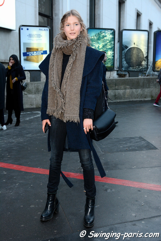 Paula Simkuse leaving Georges Chakra show, Paris Haute Couture SS 2017 Fashion Week, January 2017