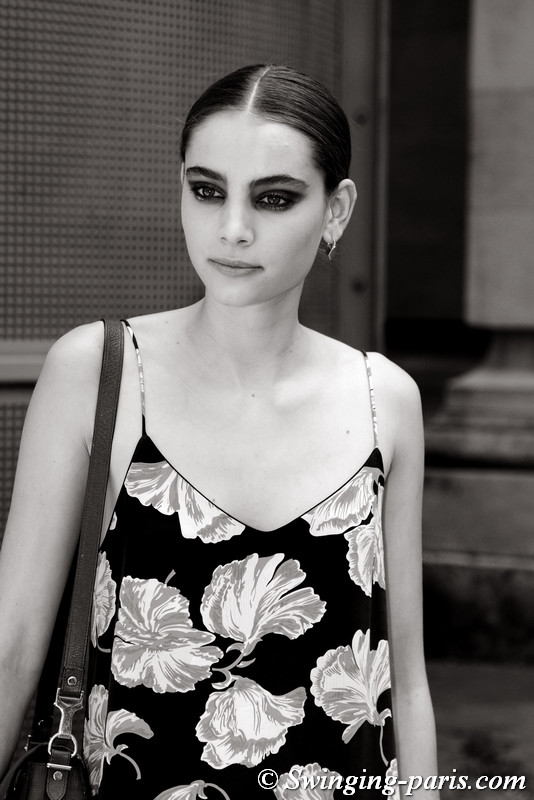 Romy Schönberger outside Chanel show, Paris F/W 2017 Haute Couture Fashion Week, July 2017