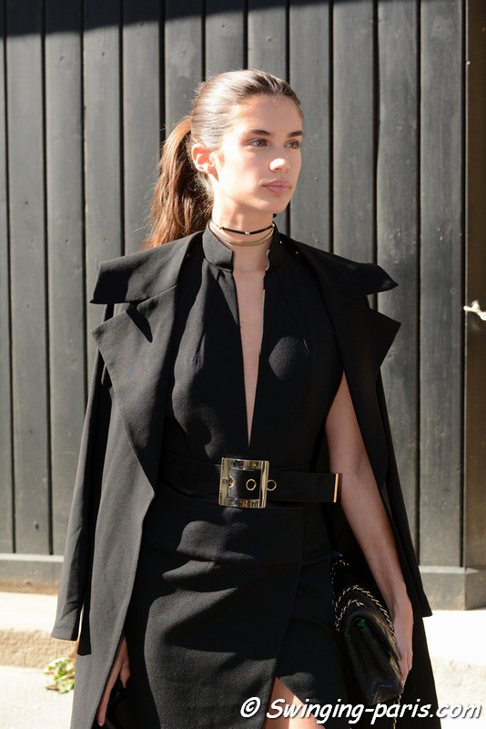 Sara Sampaio leaving Miu Miu show, Paris S/S 2017 RtW Fashion Week, October 2016
