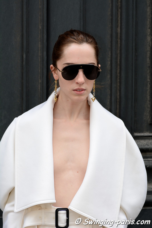 Teddy Quinlivan leaving Christian Dior show, Paris F/W 2017 RtW Fashion Week, March 2017