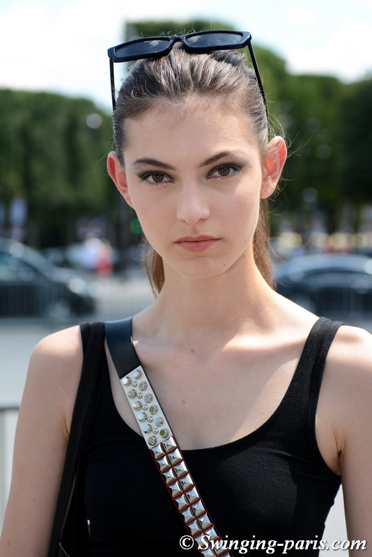 Alberte Mortensen leaving Chanel show, Paris F/W 2018 Haute Couture Fashion Week, July 2018