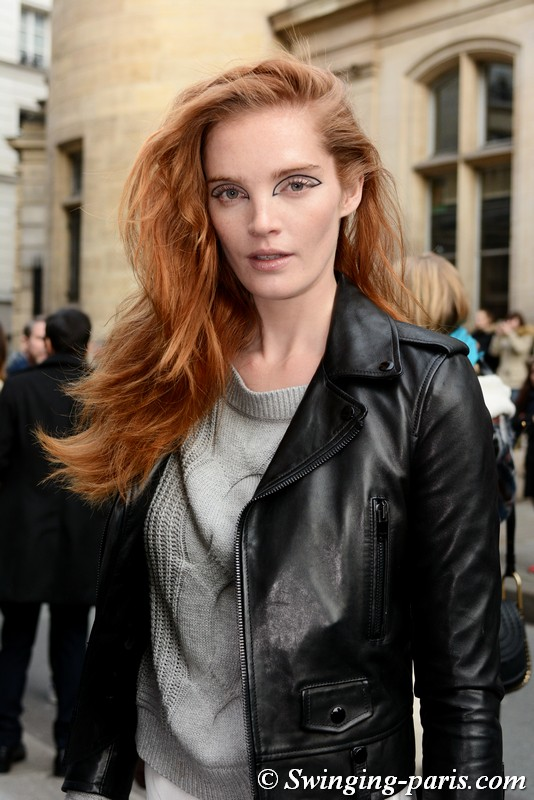 Alexina Graham leaving Jean Paul Gaultier show, Paris Haute Couture SS 2018 Fashion Week, January 2018