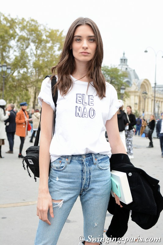 Carolina Thaler leaving Chanel show, Paris S/S 2019 RtW Fashion Week, October 2018