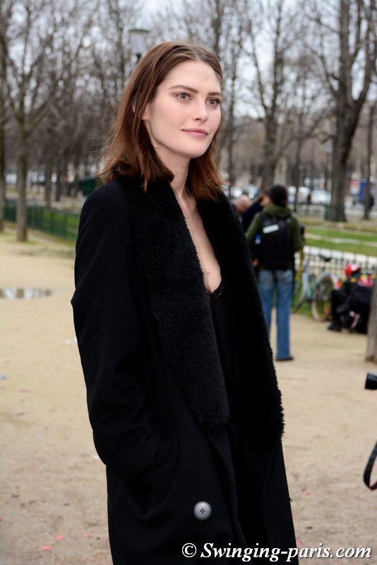 Catherine McNeil leaving Chanel show, Paris FW 2019 RtW Fashion Week, March 2019