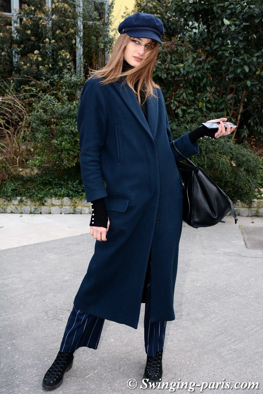 Daniela Aciu outside Guy Laroche show, Paris F/W 2018 RtW Fashion Week, February 2018