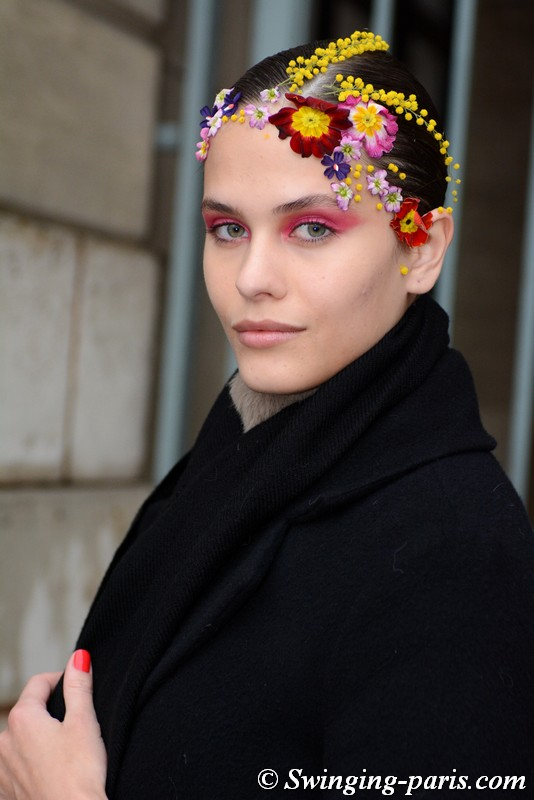 Darya Kostenich leaving Alexis Mabille show, Paris Haute Couture SS 2019 Fashion Week, January 2019