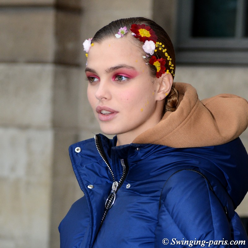 Dasha Khlystun outside Alexis Mabille show, Paris Haute Couture SS 2019 Fashion Week, January 2019