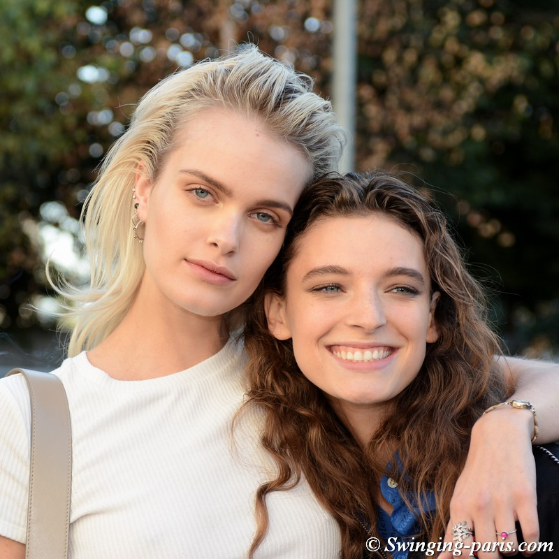 Elise Agee and Ansley Gulielmi leaving Chloé show, Paris S/S 2019 RtW Fashion Week, September 2018