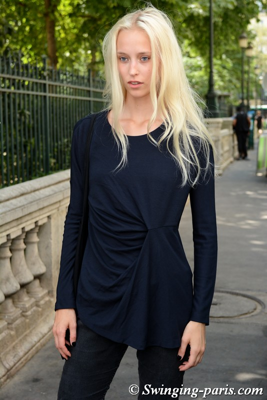 Eva Berzina leaving Jean Paul Gaultier show, Paris F/W 2018 Haute Couture Fashion Week, July 2018