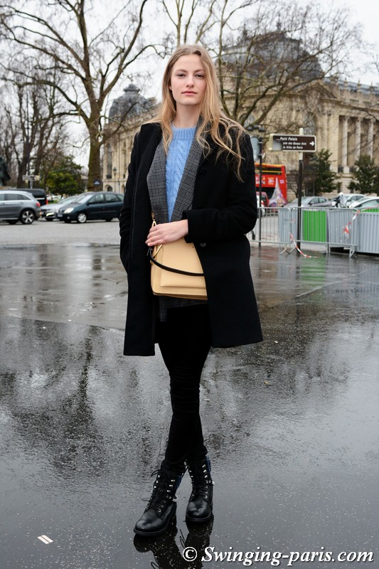 Felice Noordhoff leaving Chanel show, Paris Haute Couture SS 2018 Fashion Week, January 2018