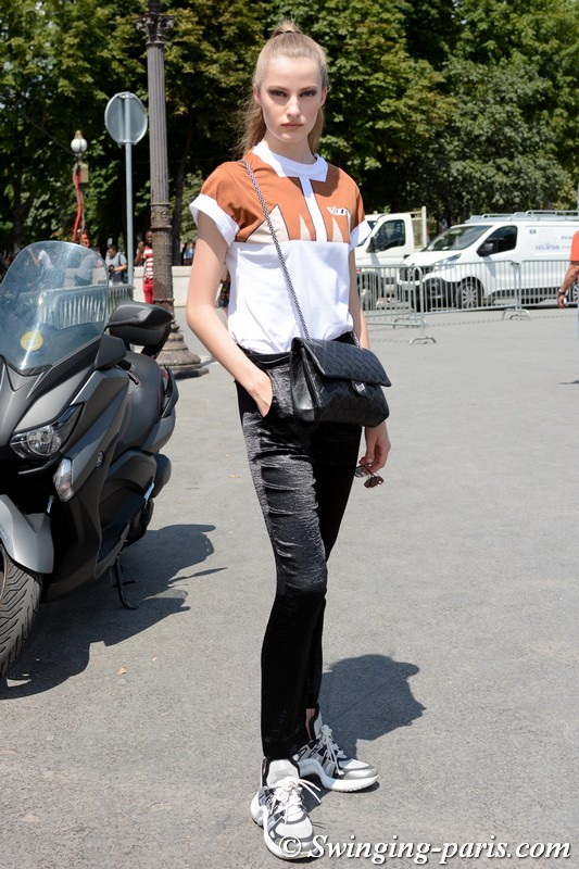 Felice Noordhoff leaving Chanel show, Paris F/W 2018 Haute Couture Fashion Week, July 2018