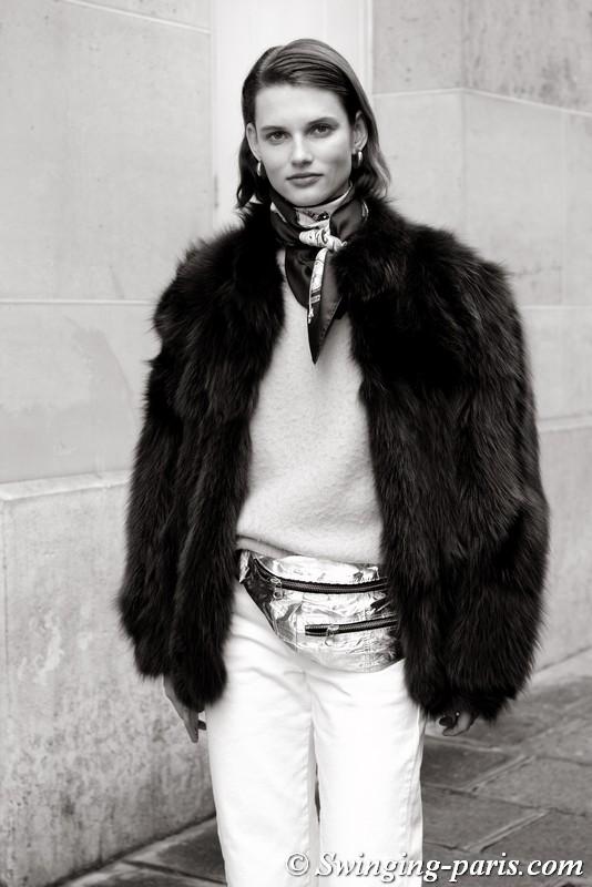 Giedre Dukauskaite leaving Nina Ricci show, Paris F/W 2018 RtW Fashion Week, March 2018