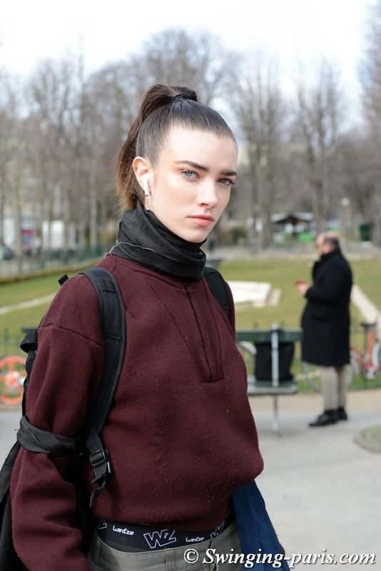 Grace Hartzel outside Chanel show, Paris F/W 2018 RtW Fashion Week, March 2018