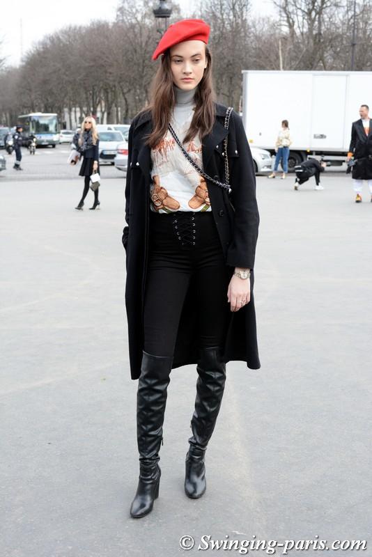 Greta Varlese leaving Chanel show, Paris F/W 2018 RtW Fashion Week, March 2018