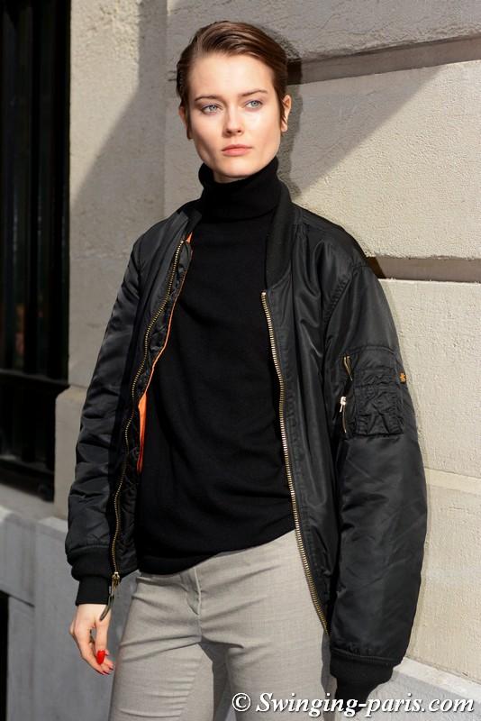 Jac (Monika) Jagaciak leaving Nina Ricci show, Paris F/W 2018 RtW Fashion Week, March 2018