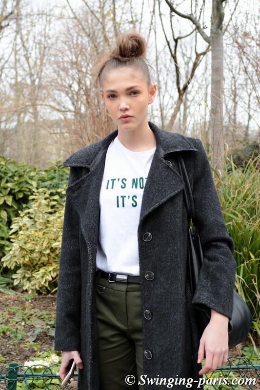 Jana Tvrdikova outside Chanel show, Paris F/W 2018 RtW Fashion Week, March 2018